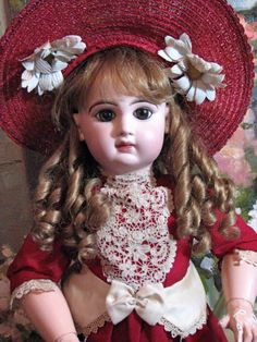 """Lovely 26"""" Tete Jumeau made by Emile Jumeau with brown paperweight eyes and a closed mouth. From the collection of Victorian Retreat Antique Dolls. #DollShopsUnited"""