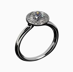 Bezel Set Diamond Halo Engagement Ring 10K White Gold-White Sapphire Center Stone-.45CT Accent Diamonds-Unique Right Hand Wedding Ring!!