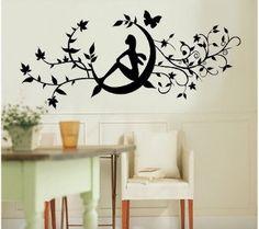 Amrsa Children Bedroom Home Decor Mural Vinyl Wall Sticker Black Fairy Sitting in the Floral Vine Kids Nursery Art Decal Paper