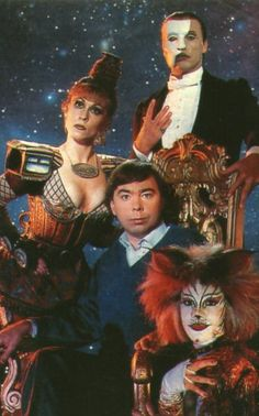Andrew Lloyd Webber with Michael Crawford as the Phantom, and cast members from Starlight Express and Cats. Probably circa 1986-1988