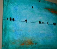 Sea Green Birds on a Wire Original Painting by sheriwiseman, $85.00