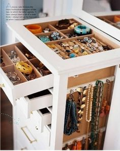 Convert your jewelry organization system into part of your home decor. You can hang pretty necklaces on the side of your furniture or even on a wall. Multi-purpose home organization for the win! Closet Organization, Jewelry Organization, Closet Storage, Thread Organization, Organization Station, Drawer Storage, Shoe Organizer, Plastic Storage, Kitchen Organization