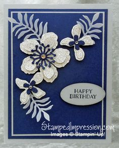 There is no better birthday card for a woman than one with flowers having lots of GLITTER! Flowers are made from Silver Glimmer Paper run through the Big Shot die-cutting machine, using Botanical Builder Framelits. All products are exclusively from Stampin' Up!