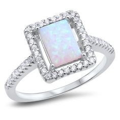 White Opal & Cubic Zirconia Fashion .925 Sterling Silver Ring Sizes 5-10 #AdornMe #SolitairewithAccents