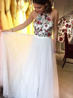A Line Prom Dresses High Neck Embroidery Floral Beautiful Prom Dress JKL1023
