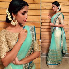 3 Tips To Make Your Net Saree Look Less Transparent Simple Sarees, Trendy Sarees, Fancy Sarees, Party Wear Sarees, Netted Blouse Designs, Saree Blouse Designs, Net Saree Designs, Net Saree Blouse, Blouse Neck