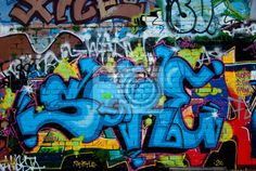 Wall Mural Graffiti detail on the textured brick wall