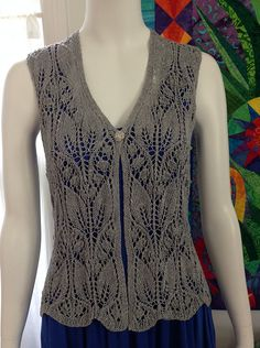 Ravelry: Lily of The valley Vest pattern by Jeri Riggs, Free Pattern Louet Euroflax Sport Weight Sport / 5 ply wpi) ? 24 stitches and 28 rows = in stockinette US 6 - mm 540 yards m) Sizes available one size: chest Summer Knitting, Lace Knitting, Knitting Stitches, Knitting Designs, Knitting Patterns Free, Free Pattern, Knit Vest Pattern, Lace Patterns, Knit Or Crochet