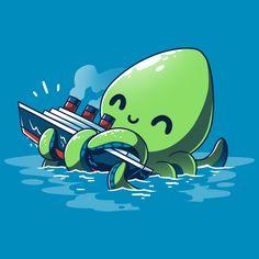 Nerdy Shirts, Cute Tshirts, Kraken Sea Monster, Kraken Art, Monster Museum, Release The Kraken, Library Art, Sea Monsters, Cthulhu