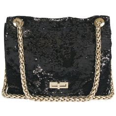 "Preowned Balmain ''ultimate"" Flap Bag Embroidered With Black Sequins (€2.770) ❤ liked on Polyvore featuring bags, handbags, black, shoulder bags, flap handbags, clasp handbag, balmain purse, embroidered purse and chain purse"