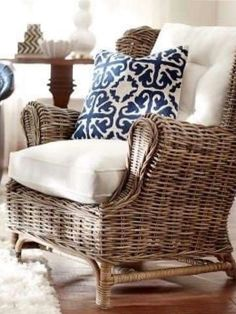 Beautiful combination of blue and white with rattan.