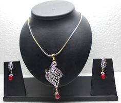 Radiant Stone Studded Pendant Set - Necklace Sets - Indian Jewelry - Accessories
