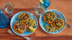 Creamy, salty feta, nutty quinoa, and hearty spinach provide the filling for these scrumptious stuffed peppers. Served with a bright lemon chickpeas salad, you'd never guess how nutrient-rich this delightfully tasty vegetarian dinner is!