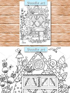 House Colouring Pages, Coloring Pages, Butterfly Design, Doodle Art, Doodles, Drawings, Illustration, Handmade, Quote Coloring Pages