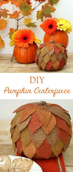 Upgrade your Styrofoam pumpkins with this DIY Pumpkin Centerpiece! Colorful Centerpieces, Pumpkin Centerpieces, Thanksgiving Centerpieces, Diy Centerpieces, Thanksgiving Crafts, Thanksgiving Table, Holiday Crafts, Holiday Ideas, Craft Projects For Adults