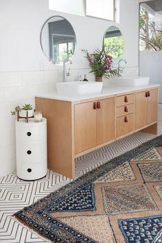 Veneer Designs midcentury modern bathroom remodel custom vanity cabinet cement tile