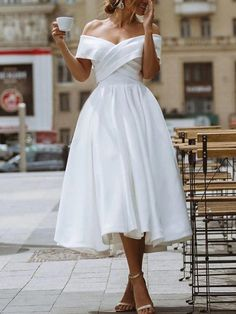White Wedding Guest Dresses, Wedding Dress Tight, Informal Wedding Dresses, Informal Weddings, Dresses To Wear To A Wedding, Tea Length Wedding Dress, Little White Dresses, Cheap Wedding Dress, Wedding Gowns
