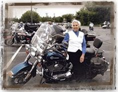 This 86 year old great-grandmother of two puts more miles on her Harley than most hardcore bikers do. Throughout her 70 years of riding, she's owned 14 motorcycles, and has traveled every state in the continental US, as well as Canada. At the age of 76, she took two trips to Europe, traveling over 6,500 miles in 8 countries. Gloria has been a Motor Maid for 65 years, having joined in 1946. Last year, she rode 4,450  to Cody, Wyoming, for the annual Motor Maids convention.