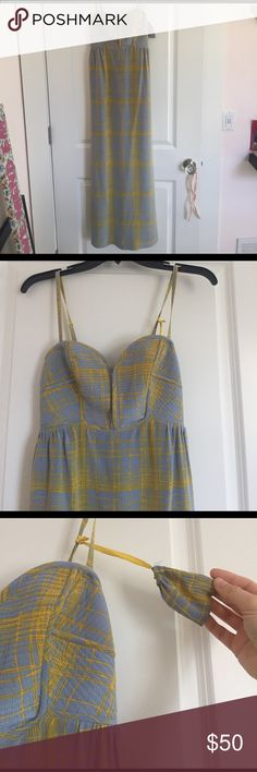 Anthroplogie long silk/cotton maxi dress by Maple Excellent condition! Little baggy came with dress to keep straps in if worn strapless 💗☺️ Grey and Yellow maxi dress by Maple with adjustable and removable straps..bodice has great structure and detail. Worn 3 times and laundered. Can't negotiate price on this pretty lady. Anthropologie Dresses Maxi