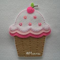 Handmade Cupcake Felt Applique (Big - Double Layer and - Light Brown Bottom). $4.00, via Etsy.