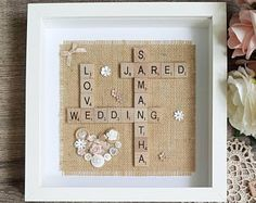 """Personalised Scrabble Frame (10""""x10"""") Personalised Wedding Frame 