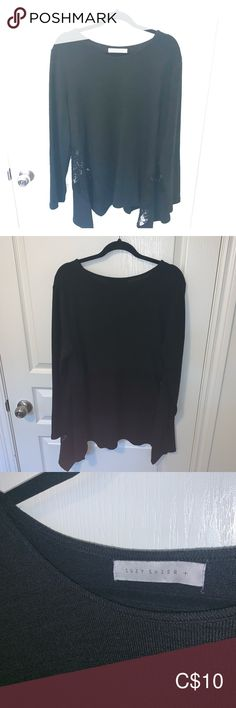 Black sweater with lace inlay back Black sweater with lace inlay in lower back area. Skater style and falls away from the body after the chest. Only worn once. Black Sweaters, Sweaters For Women, Skater Style, Suzy, Scoop Neck, Lace, Closet, Things To Sell, Fashion