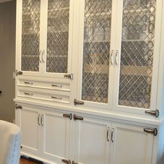 Nickel Diamond Mesh Cabinet Inserts Design Ideas Pictures Remodel And Decor Kitchen Cabinets