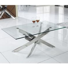 Buy Glass Coffee Table with Chrome Base - Vida Living Kalmar from - the UK's leading online furniture and bed store Steel Coffee Table, Glass Top Coffee Table, Cool Coffee Tables, Coffee Table With Storage, Modern Coffee Tables, Stainless Steel Table, Contemporary Side Tables, Hazelwood Home, Modern Room