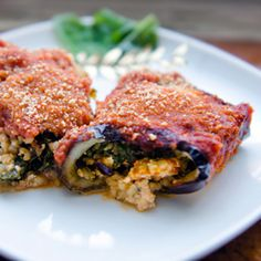 Eggplant Rollatini - with savory tofu + bulgur wheat filling #vegan
