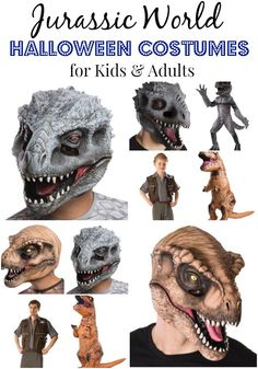 These Jurassic World Halloween Costumes for both kids and adults are about as cool as costumes get. There are masks, inflatable T-Rex costumes and more. Pre-order them now because these are going to go fast! They should be in come September. Original Halloween Costumes, Dinosaur Halloween Costume, Dinosaur Costume, Halloween Costumes For Teens, Cool Costumes, Halloween Kids, Dinosaur Party, Halloween 2017, Costume Ideas