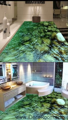 Clear Water Steam Stone 00052 Floor Decals 3D Wallpaper Wall Mural Stickers Print Art Bathroom Decor Living Room Kitchen Waterproof Business Home Office Gift