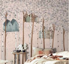 """55"""" x 35"""" Children's Cabin in Woods Forest Tree House Wallpaper Leaves Nursery Wall Decal Art Bedroom Wall Paper Pink Light Grey"""