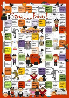 Halloween Board Game worksheet - Free ESL printable worksheets made by teachers