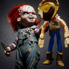 """Chucky: """"Give me the boy, and I'll let you live!"""" (Child's Play)  Woody: """"You stay away from Andy. He's mine, and no one is taking him away from me."""" (Toy Story)"""