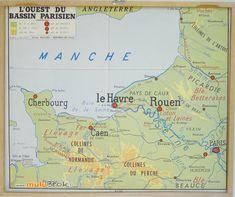 Ancienne affiche carte scolaire L'ouest du bassin parisien, la Normandie . www.muluBrok.fr Vintage