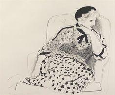 David Hockney - Celia in an Armchair, 1980, Lithograph