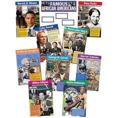 FAMOUS AFRICAN AMERICANS BB SET – Edwarehouse Educational Quotes Inspirational, Bulletin Board Display, Bulletin Boards, Althea Gibson, Famous African Americans, George Washington Carver, Teacher Created Resources, Jackie Robinson, Frederick Douglass