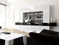 Unico Italia Modern wall storage system in white and black high gloss
