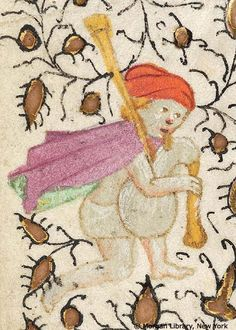 Man wearing hat, cape and short loincloth playing bagpipe | Book of Hours | Belgium, perhaps Bruges | ca. 1420 | The Morgan Library & Museum
