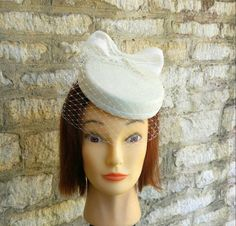 Ivory white Pillbox hat with mini veil and bow bridal hat off