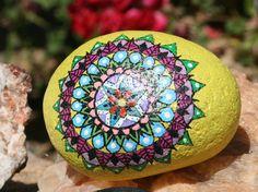 Hand Painted Mandala Stone And Yellow Bird by HiddenHorseRocks