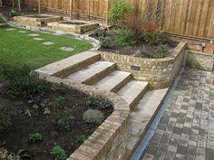 Wide sandstone steps, curved edges