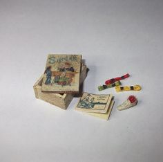 Dollhouse miniature vintage style sewing box scale 1/12 by Teruka