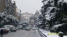 Puerta de Toledo nevada, Madrid