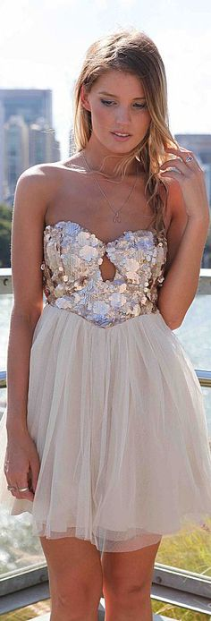 mini cocktail dress #strapless #tulle #glitter JUST FEEL IT DRESS