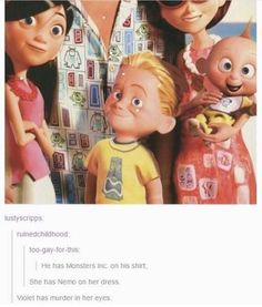 This is hilarious. And I feel like Dash's shirt is from another movie, but I don't remember which one. Funny Disney Memes, Disney Jokes, Disney Facts, Stupid Funny Memes, Haha Funny, Hilarious, Funny Stuff, Disney Funny Tumblr, Disney Memes Clean