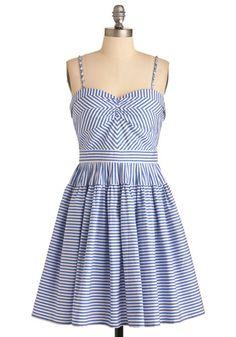 Modcloth Take a Spin Dress #modcloth #dress #stripes #blue #white
