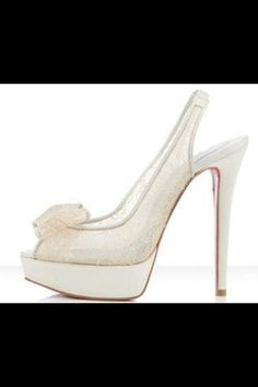 Christian Louboutin Satin Platform  Lace Peep Toe Heels with bow