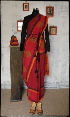 p10 Vintage Block On Kandangi Hand Woven Pure Cotton Sari