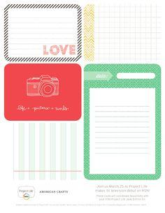 Free Becky Higgins Project Life Jade Cards from American Crafts {on Facebook}